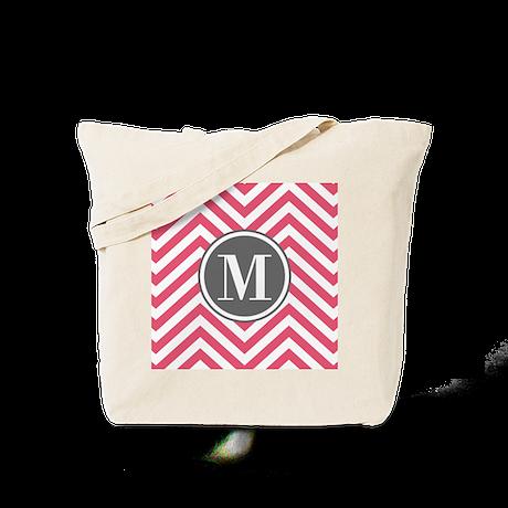 Pink Monogram Zigzag Pattern Tote Bag