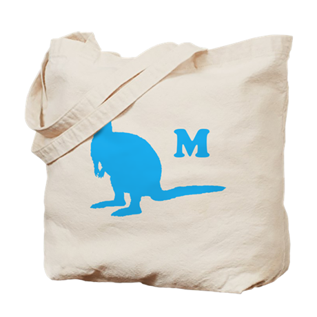 Custom Letter. Blue Wallaby. Tote Bag