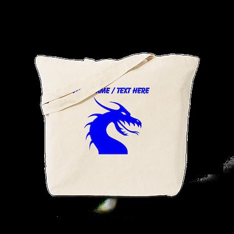 Custom Blue Scary Dragon Tote Bag