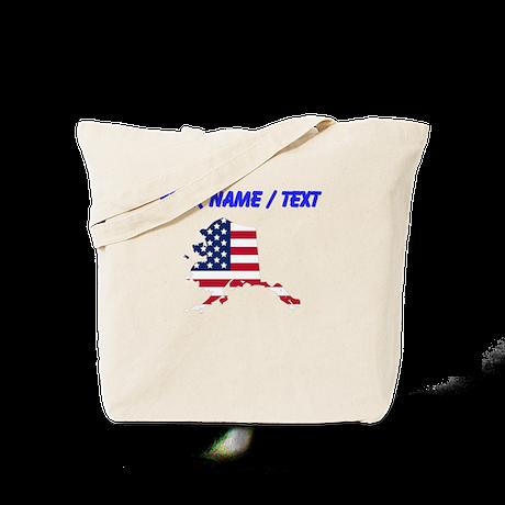 Custom Alaska American Flag Tote Bag
