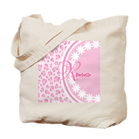 Stylish Pink and White Monogram Tote Bag