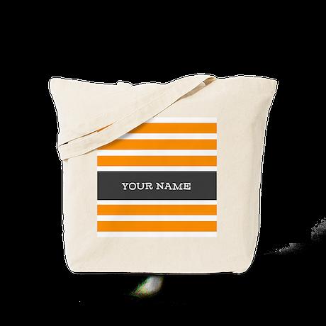 Orange and White Stripes Personalized Tote Bag