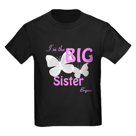 Big Sister Hot Pink Butterfly Custom Kids Dark T-S