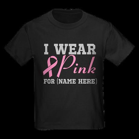 Personalize I Wear Pink Kids Dark T-Shirt
