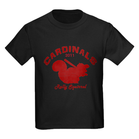 Cardinals Rally Squirrel Kids Dark T-Shirt