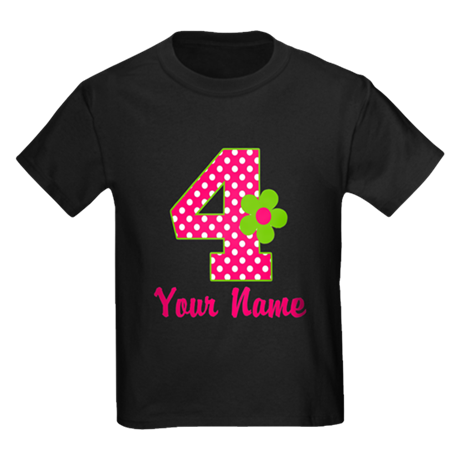 4th Birthday Pink Green Kids Dark T-Shirt