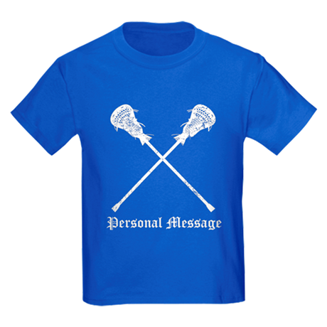 Personalized Lacrosse Sticks Kids Dark T-Shirt