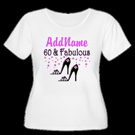 60 & A SHOE QUEEN Women's Plus Size Scoop Neck T-S