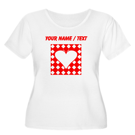 Custom Red Checkered Heart Square Plus Size T-Shir