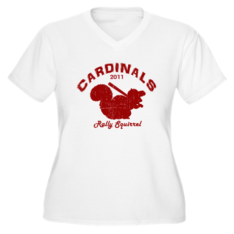 Cardinals Rally Squirrel Women's Plus Size V-Neck