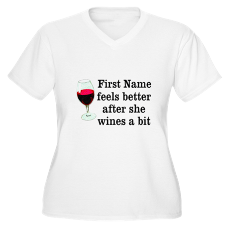 Personalized Wine Gift Women's Plus Size V-Neck T-
