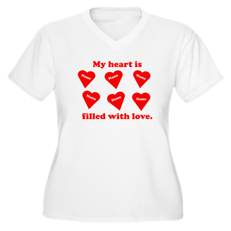 Personalized My Heart Filled Women's Plus Size V-N