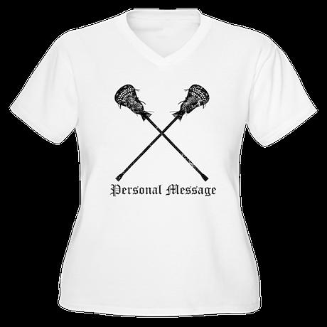 Personalized Lacrosse Sticks Women's Plus Size V-N