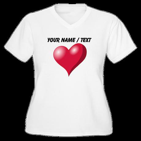 Custom Pink Heart Plus Size T-Shirt