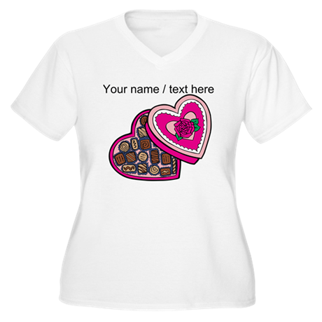 Personalized Chocolates In Heart Box Plus Size T-S