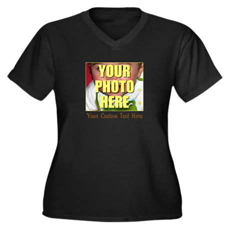 Custom Photo and Text Women's Plus Size V-Neck Dar