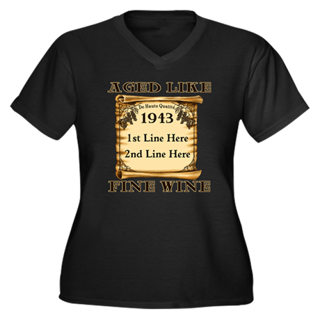 Fine Wine 1943 Women's Plus Size V-Neck Dark T-Shi