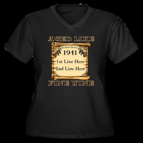 Fine Wine 1941 Women's Plus Size V-Neck Dark T-Shi