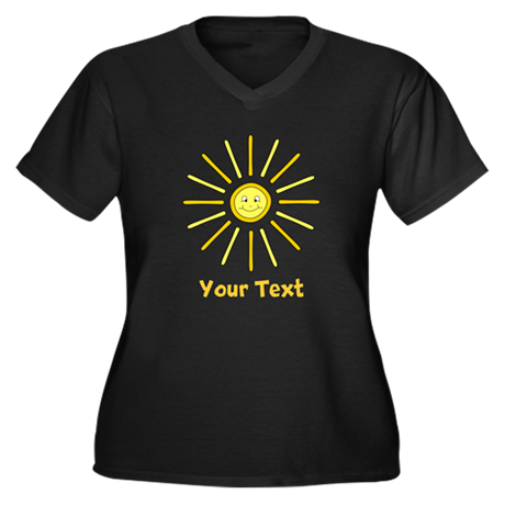 Happy Summer Sun and Text. Women's Plus Size V-Nec