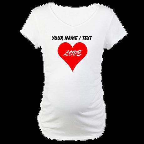 Custom Love Heart Maternity T-Shirt