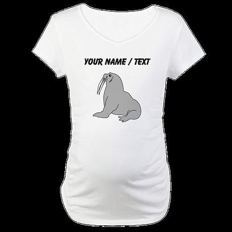 Custom Grey Walrus Maternity T-Shirt