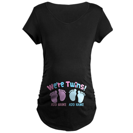 We're Girl and Boy Twins Cu Maternity Dark T-Shirt