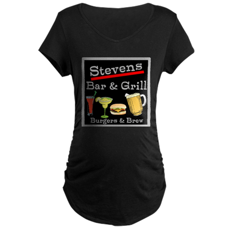 Personalized Bar and Grill Maternity Dark T-Shirt