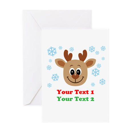 Personalize Cute Baby Reindeer Greeting Card