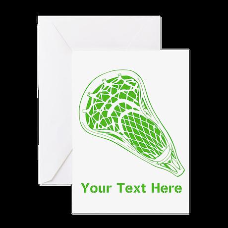 Lacrosse Crosse. Green Text. Greeting Card