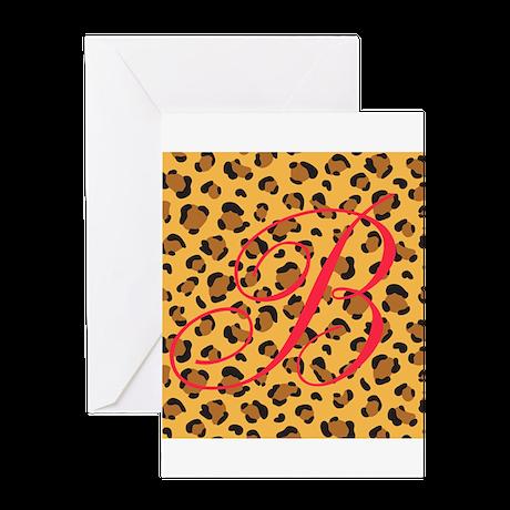Personalizable Initial on Cheetah Print Greeting C