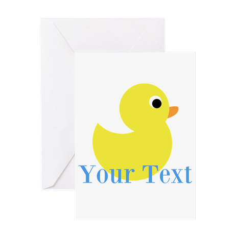 Personalizable Yellow Duck Blue Greeting Cards