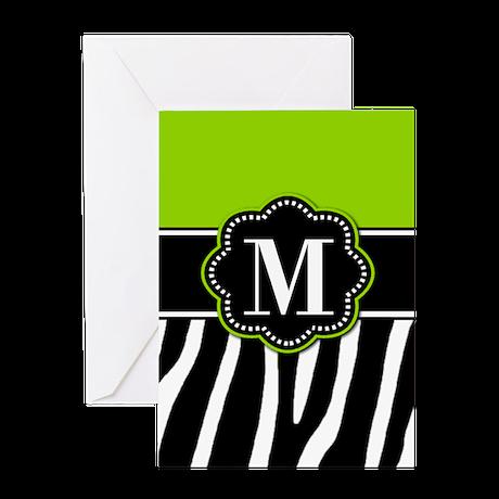 Lime Green Zebra Monogram Greeting Cards