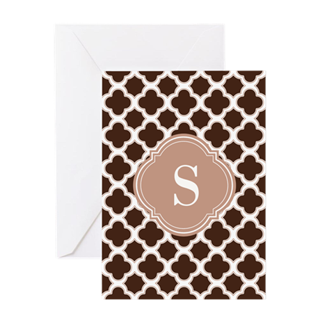 Quatrefoil Pattern Brown and White with Monogram G