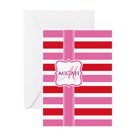 Girly Stripe Monogram Greeting Card