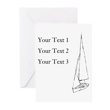 Sail Boat and Custom Text. Greeting Cards (Pk of 2