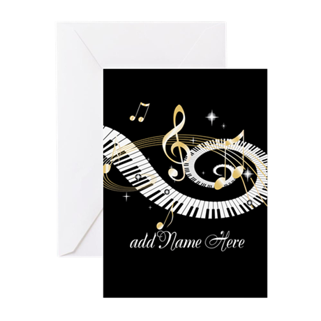 Personalized Piano Musical gi Greeting Cards (Pk o