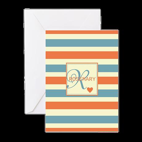 Bold Stripe & Monogram Personalized Greeting Cards