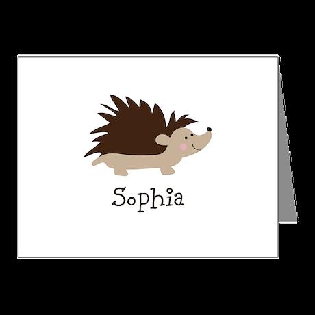 Custom Name Hedgehog Note Cards (Pk of 10)