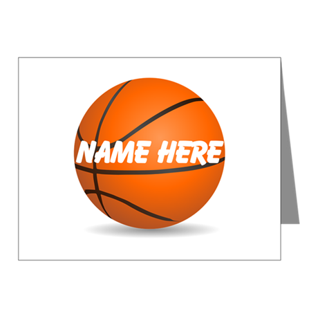 Customizable Basketball Ball Note Cards (Pk of 10)