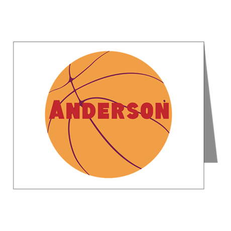 Personalized Basketball. Note Cards (Pk of 10)