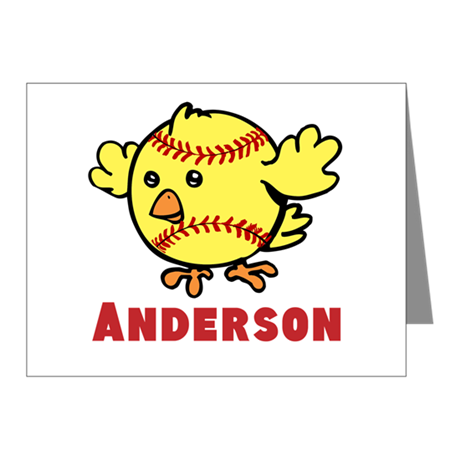 Personalized Softball Chick Note Cards (Pk of 10)