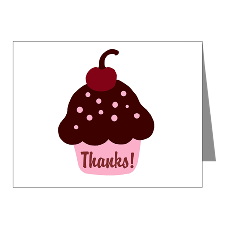 Pink and Brown Cupcake Thank Note Cards (Pk of 10)