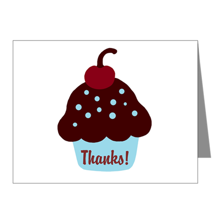 Blue and Brown Cupcake Thank Note Cards (Pk of 10)