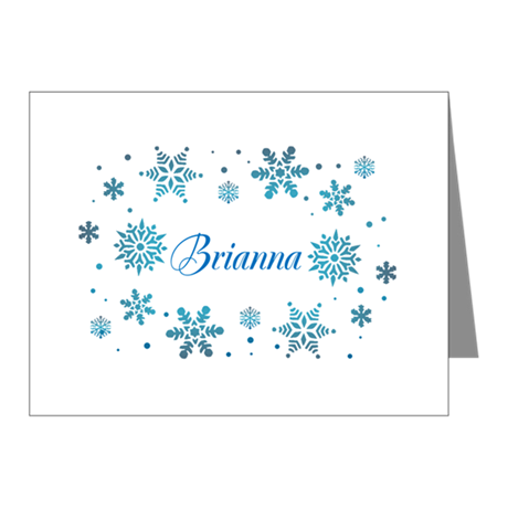 Custom name Snowflakes Note Cards (Pk of 10)