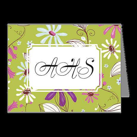 Flower Botanical Green Note Cards (Pk of 10)