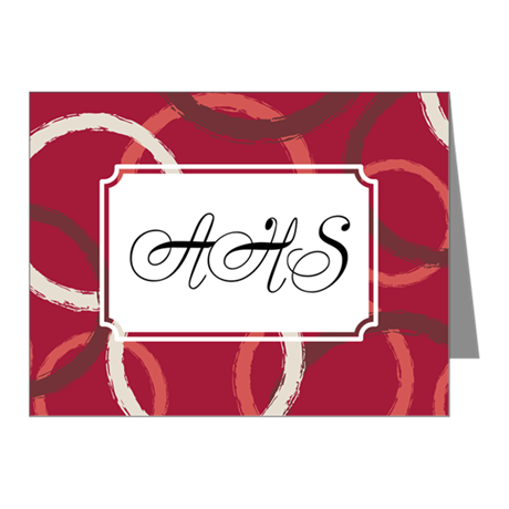 Geometric Circles Red Note Cards (Pk of 10)