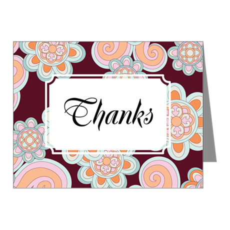 Flower Retro Brown Note Cards (Pk of 10)