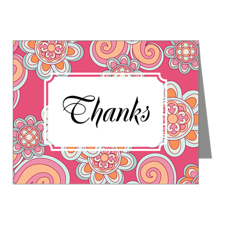 Flower Retro Pink Note Cards (Pk of 10)