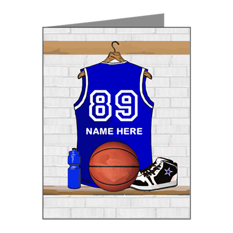 Personalized Basketball Jerse Note Cards (Pk of 10