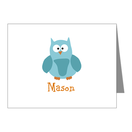 Custom Name Owl Note Cards (Pk of 20)